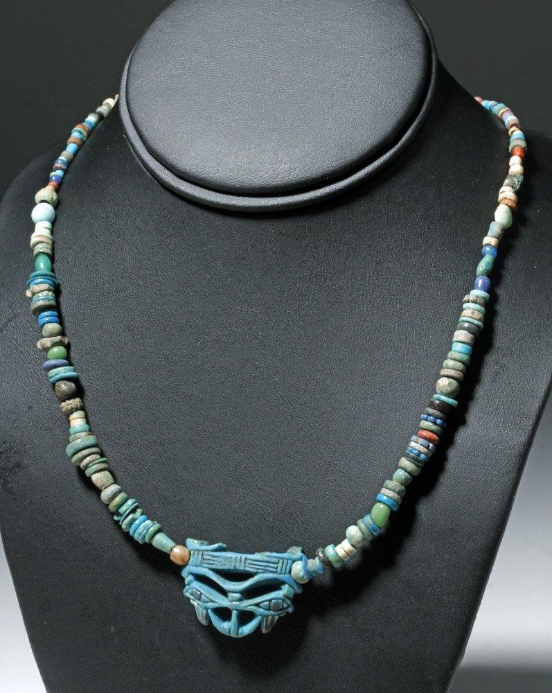 Custom Egyptian Faience Necklace w/ Wedjat Eye Amulet - 2