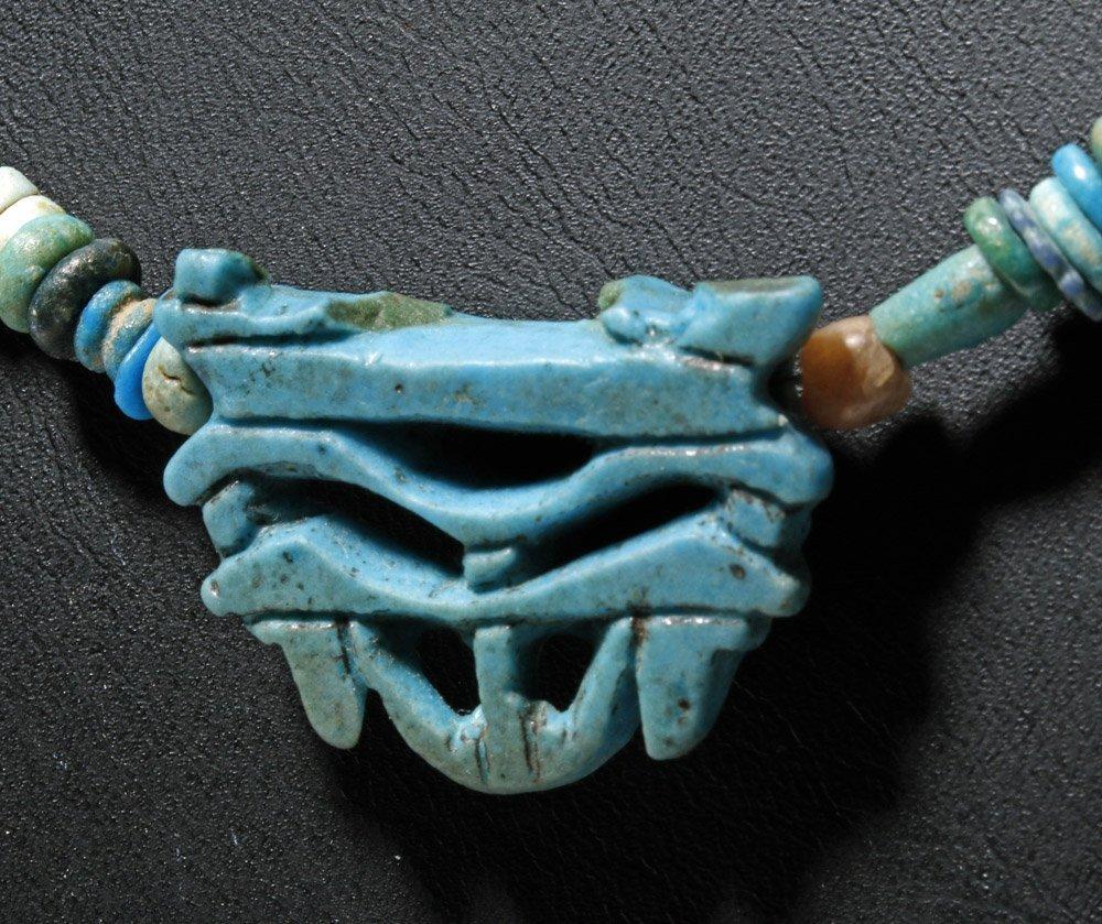 Custom Egyptian Faience Necklace w/ Wedjat Eye Amulet - 5