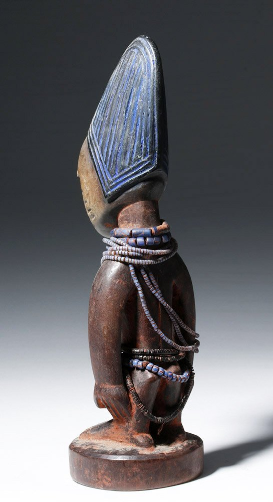 African Ibeji Wooden Male Twin Figure - 2