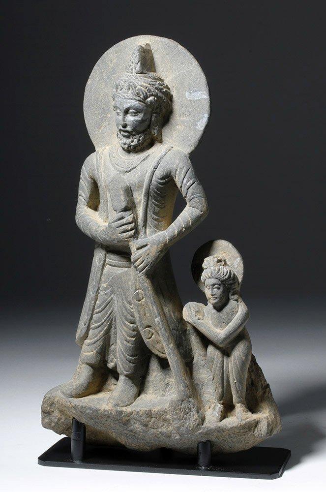 Important  Gandharan Schist Statue of Kanishka