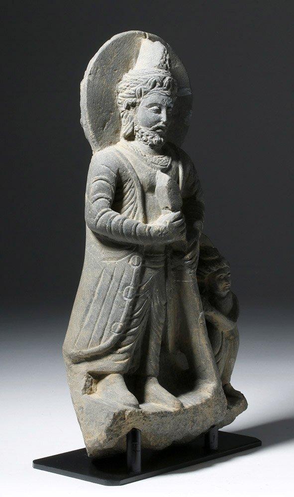 Important  Gandharan Schist Statue of Kanishka - 4