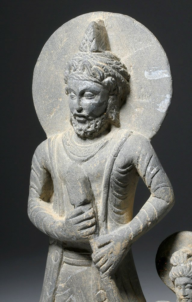 Important  Gandharan Schist Statue of Kanishka - 5