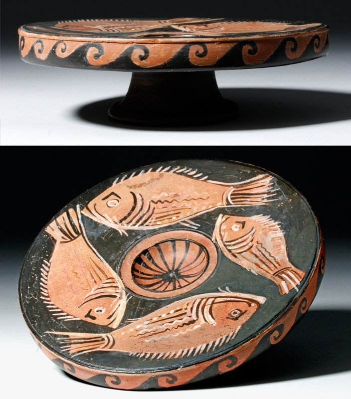 Greek Apulian Red-Figure Pottery Fish Plate