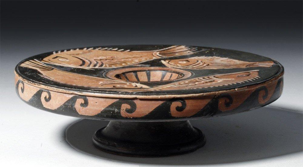 Greek Apulian Red-Figure Pottery Fish Plate - 4