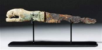 Rare Roman Bronze and Bone Folding Knife Lion Handle