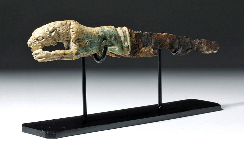 Rare Roman Bronze and Bone Folding Knife Lion Handle - 2