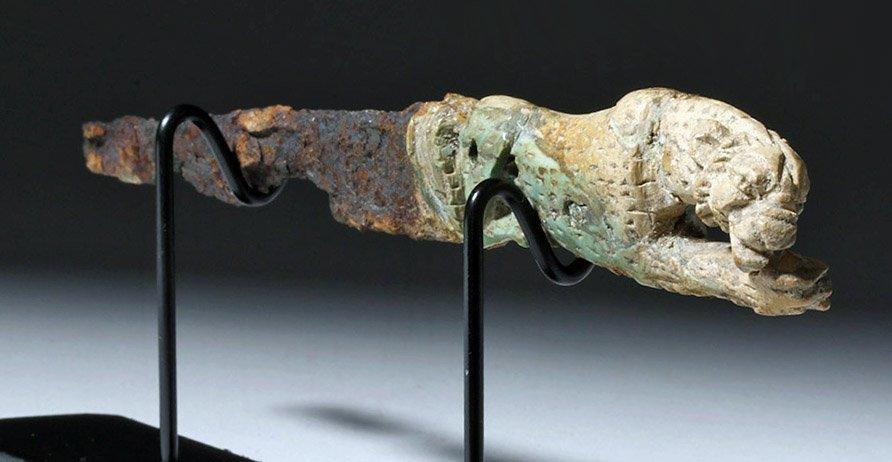 Rare Roman Bronze and Bone Folding Knife Lion Handle - 4