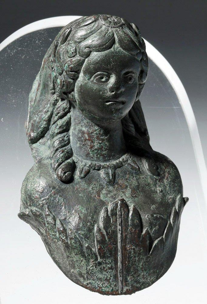 Roman Bronze Applique Bust of Flora