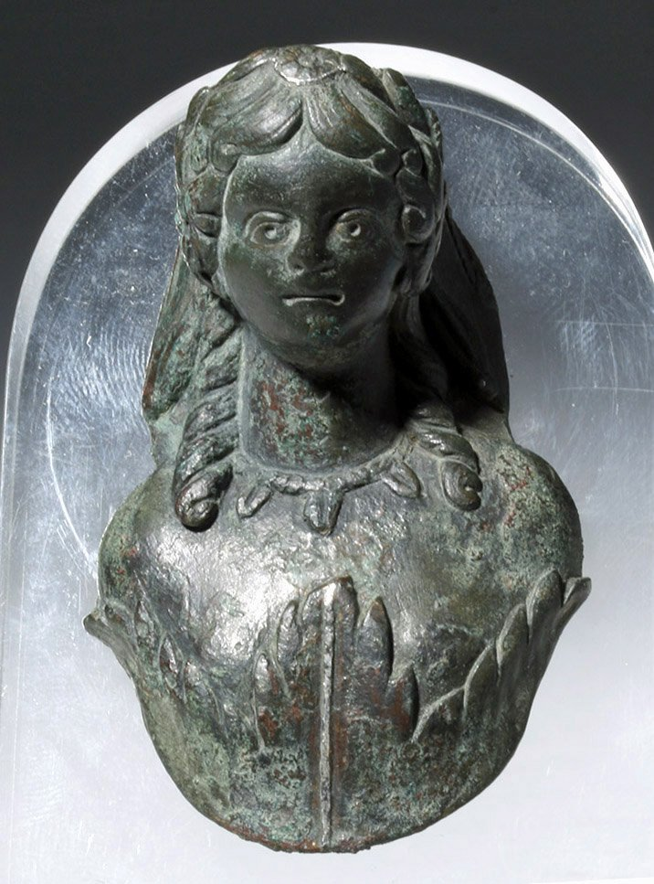 Roman Bronze Applique Bust of Flora - 2