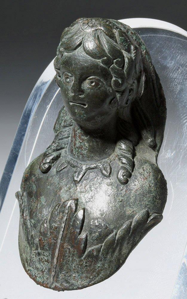 Roman Bronze Applique Bust of Flora - 3
