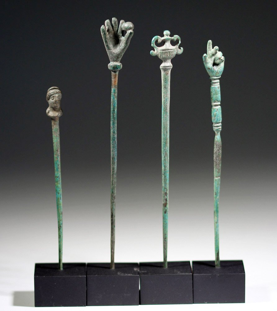 Four Roman Bronze Pins - Decorated Heads