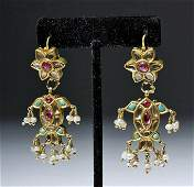 19th C. Indian 18K Gold Earrings w/ Sapphires, Rubies