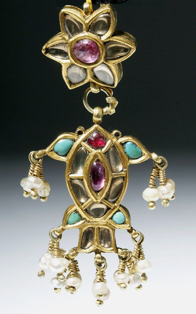 19th C. Indian 18K Gold Earrings w/ Sapphires, Rubies - 2