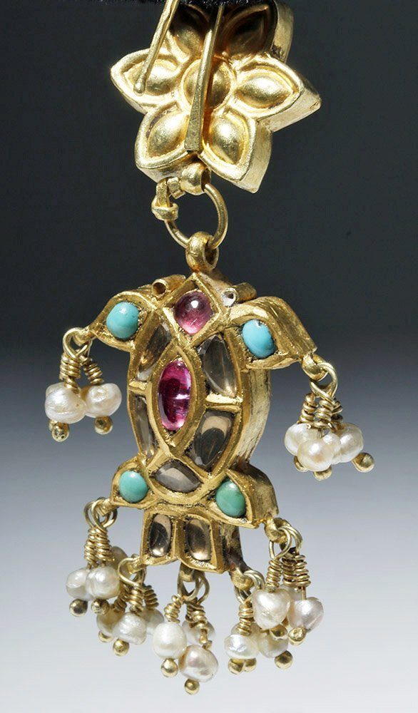 19th C. Indian 18K Gold Earrings w/ Sapphires, Rubies - 5