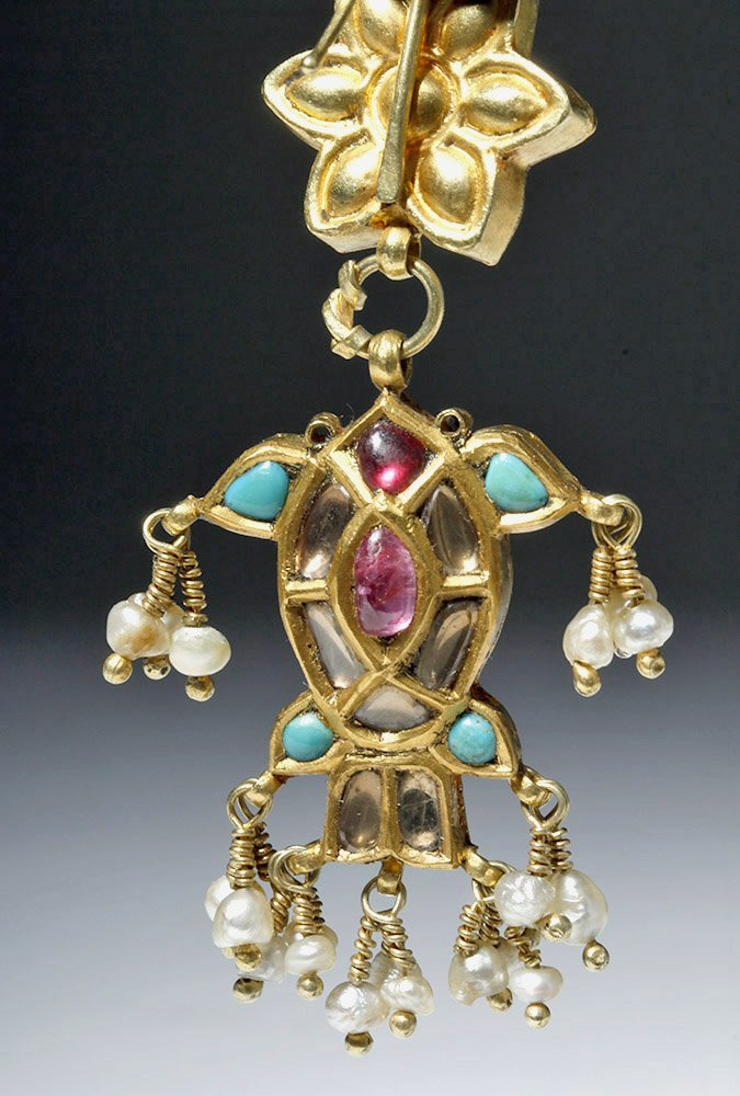 19th C. Indian 18K Gold Earrings w/ Sapphires, Rubies - 6