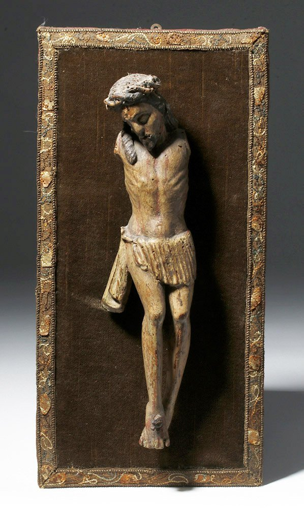 17th C. Spanish Wood Depiction of Crucified Christ