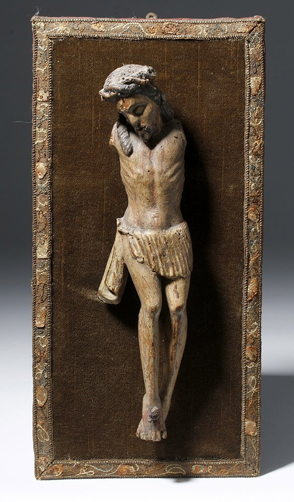 17th C. Spanish Wood Depiction of Crucified Christ - 2