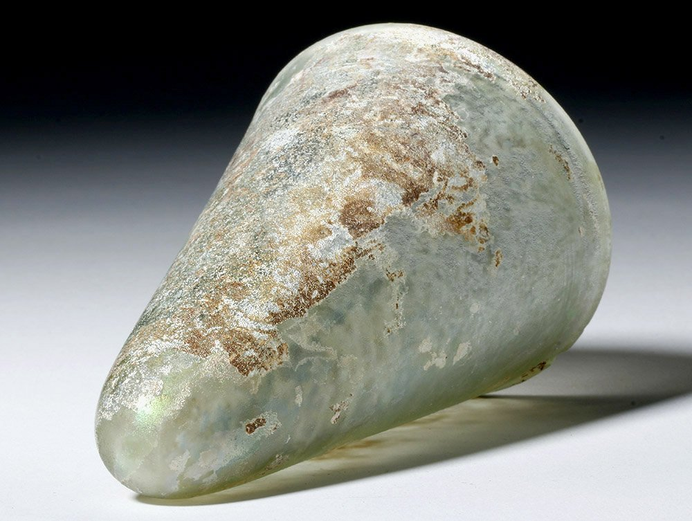 Desirable Roman Conical Green Glass Vessel - 10