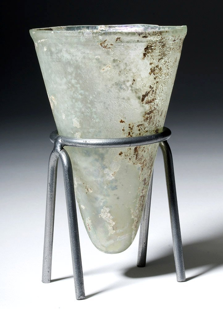 Desirable Roman Conical Green Glass Vessel