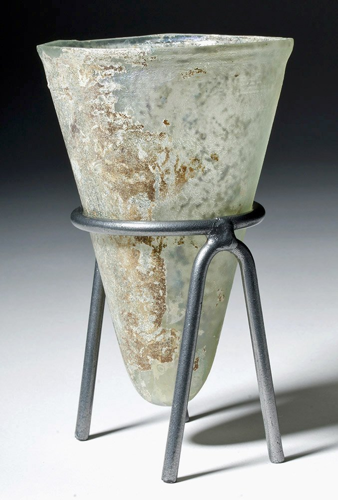 Desirable Roman Conical Green Glass Vessel - 2