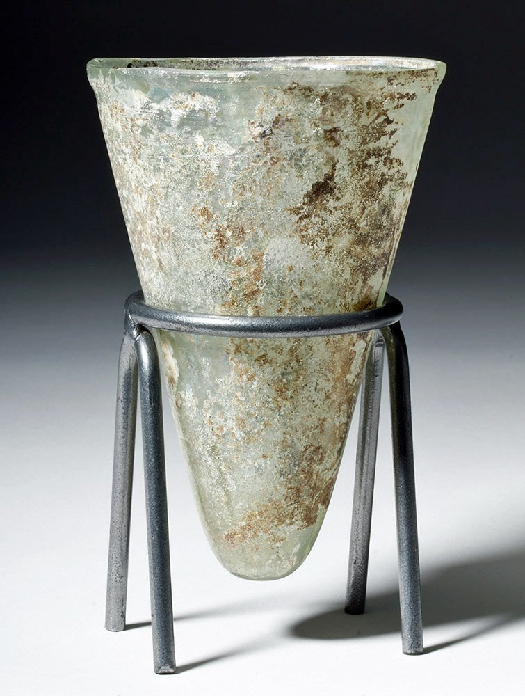 Desirable Roman Conical Green Glass Vessel - 3