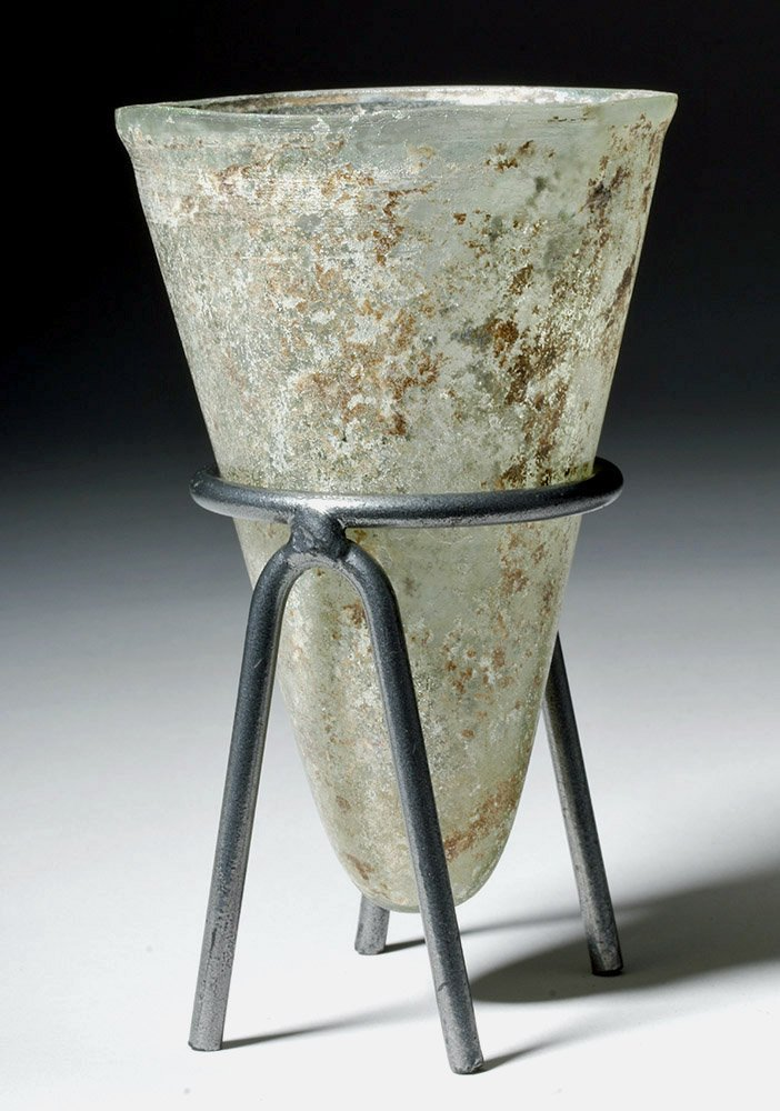 Desirable Roman Conical Green Glass Vessel - 4