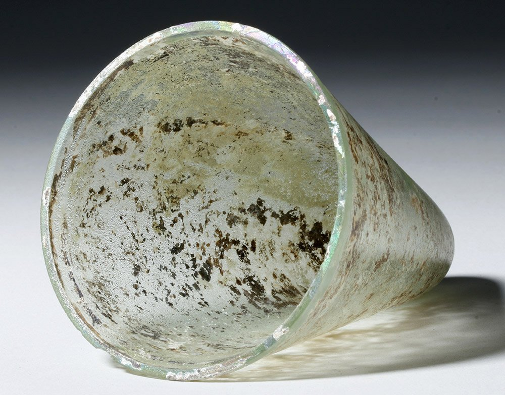 Desirable Roman Conical Green Glass Vessel - 9