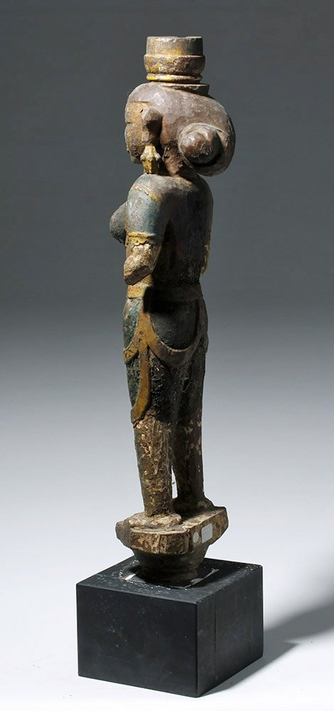 Tall 18th C. Indian Wooden Statue of a Goddess - 2