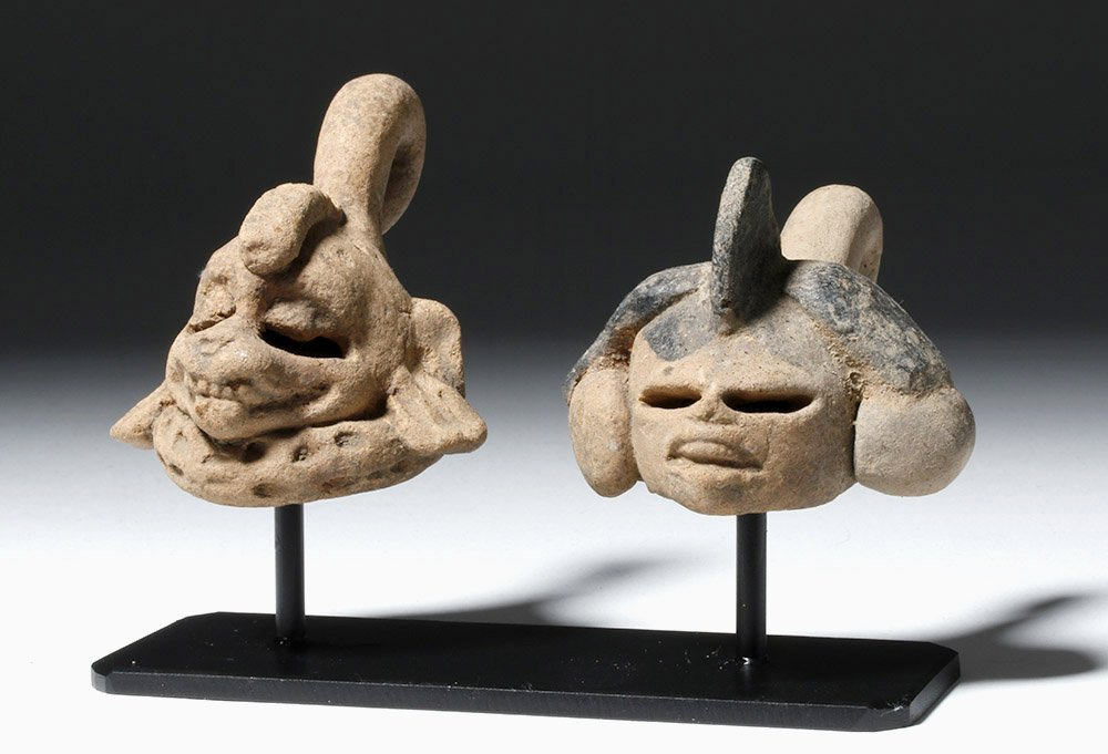 Pair of Mayan Pottery Maskettes