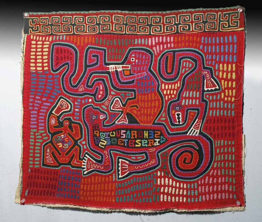 Amusing Kuna Island Textile Mola - Musician & Lizards