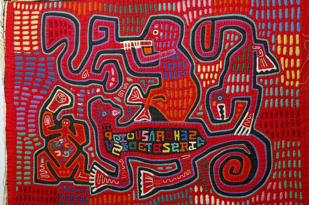 Amusing Kuna Island Textile Mola - Musician & Lizards - 2