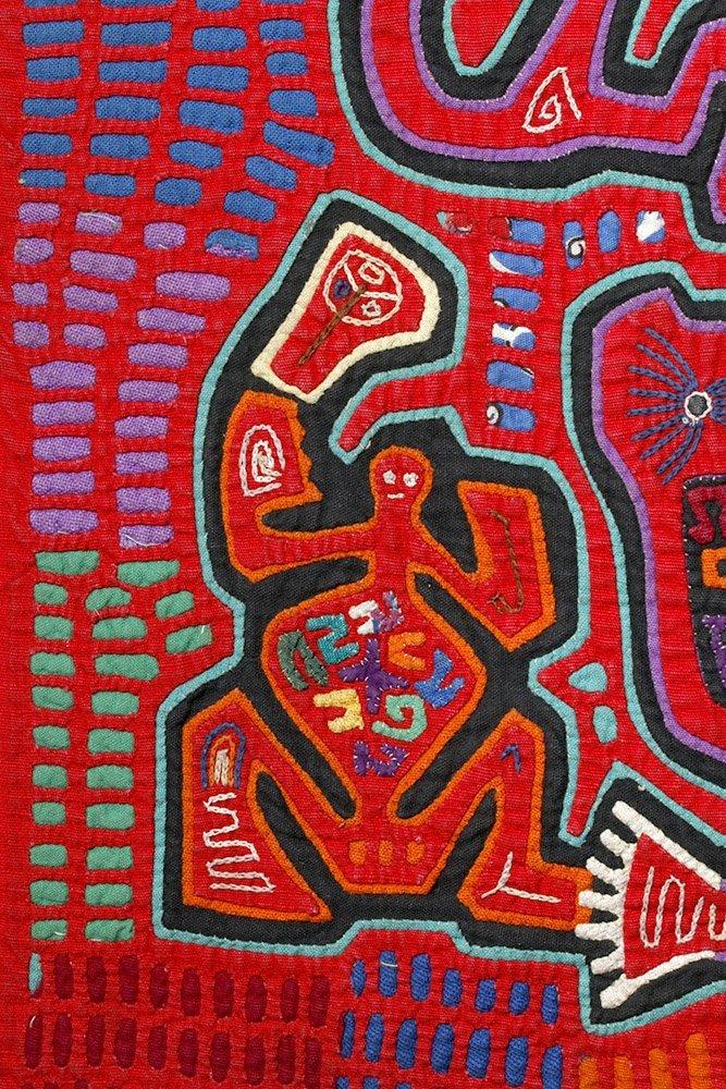 Amusing Kuna Island Textile Mola - Musician & Lizards - 3
