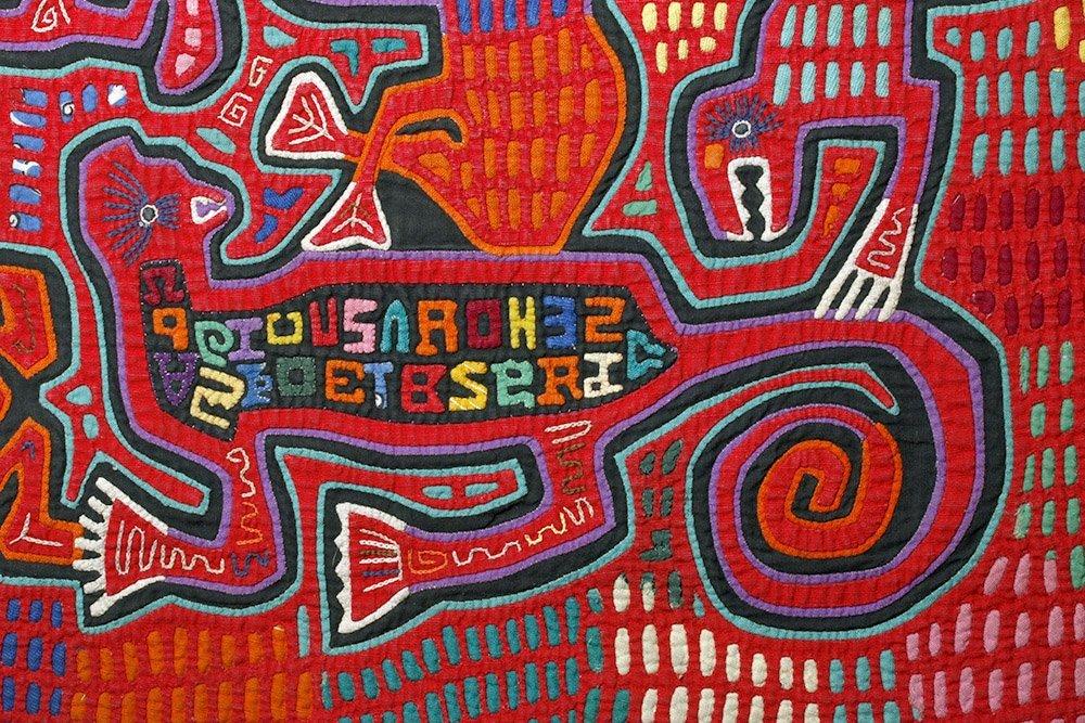 Amusing Kuna Island Textile Mola - Musician & Lizards - 4