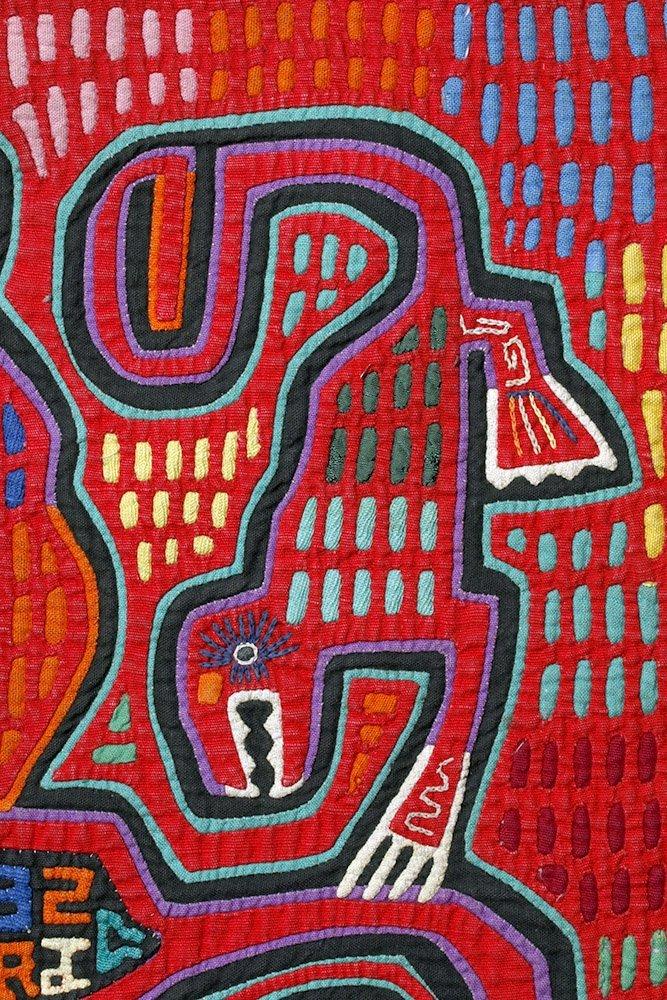 Amusing Kuna Island Textile Mola - Musician & Lizards - 5