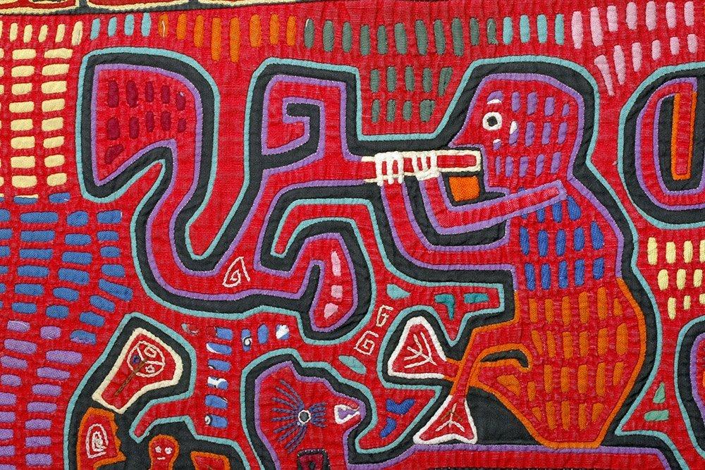 Amusing Kuna Island Textile Mola - Musician & Lizards - 6