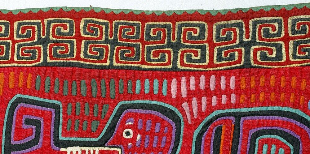 Amusing Kuna Island Textile Mola - Musician & Lizards - 7