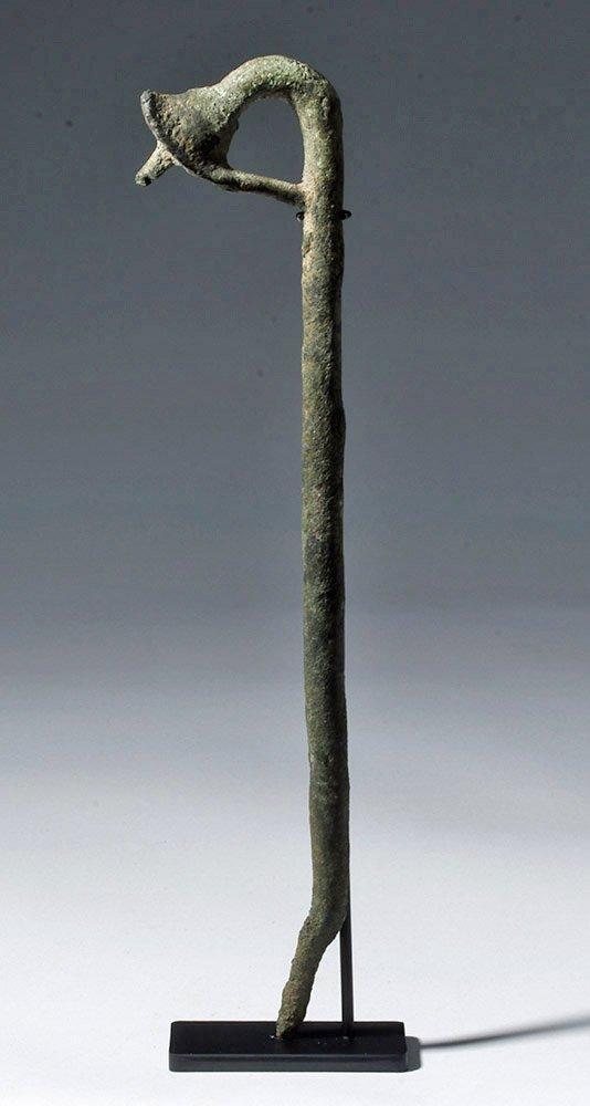 Rare Egyptian Bronze Sceptre - Lotus Flower