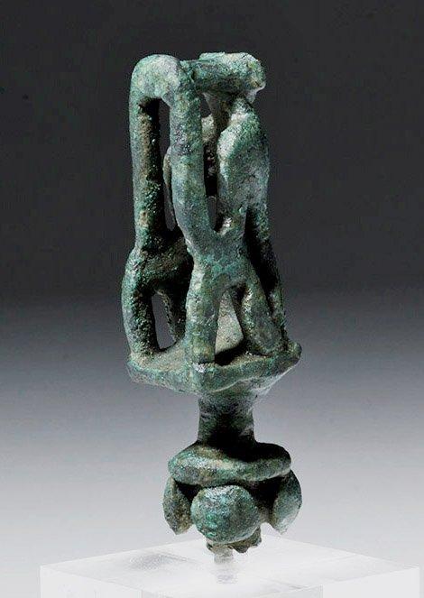 Rare Greek Geometric Period Bronze Stopper - Monkey