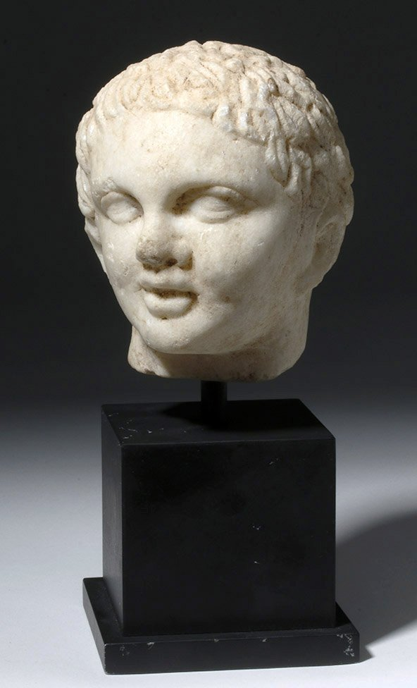 Superb Roman Marble Head of a Youth