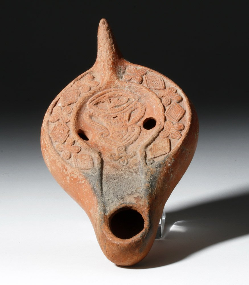 Roman Redware Oil Lamp - Decorative Urn