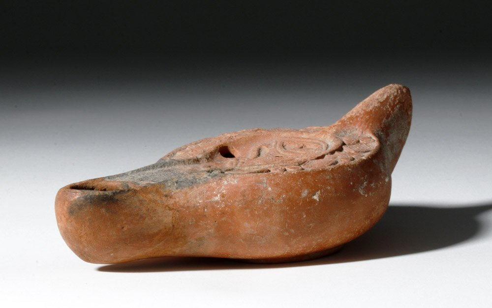 Roman Redware Oil Lamp - Decorative Urn - 2