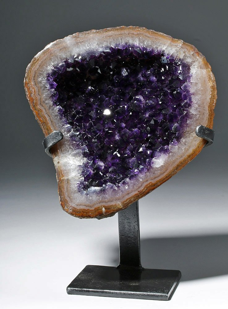 Lovely Amethyst Geode Section - Finest Purple Crystals