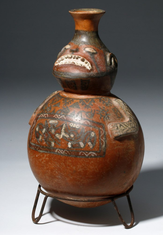 Important Ica / Chancay Polychrome Figural Vessel