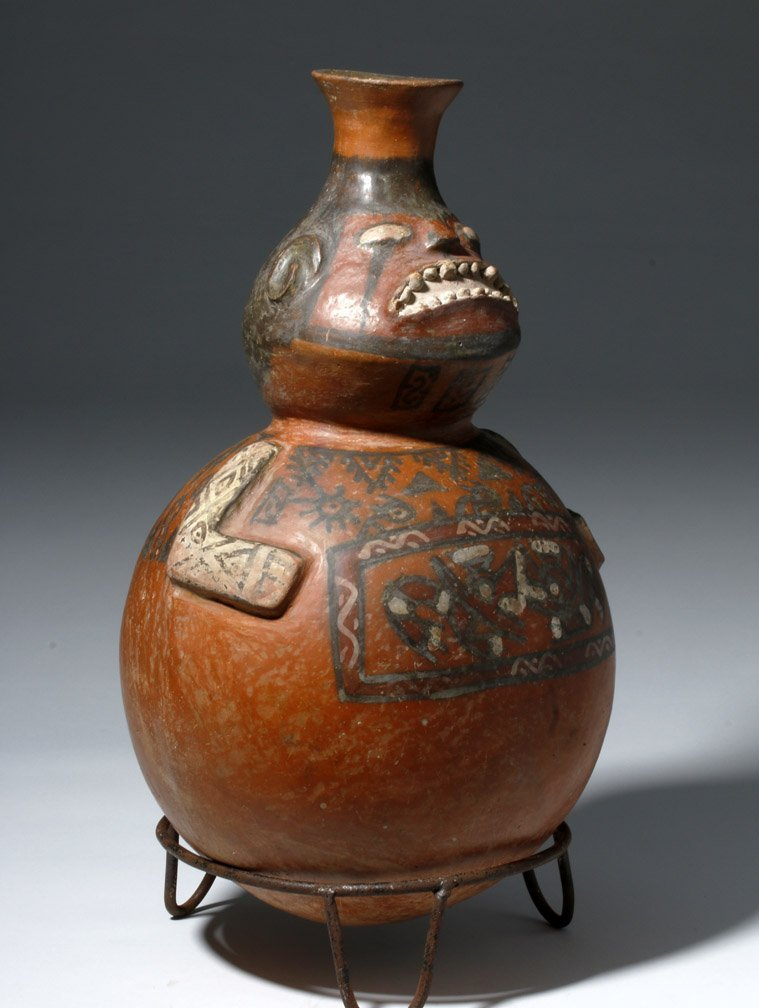 Important Ica / Chancay Polychrome Figural Vessel - 5