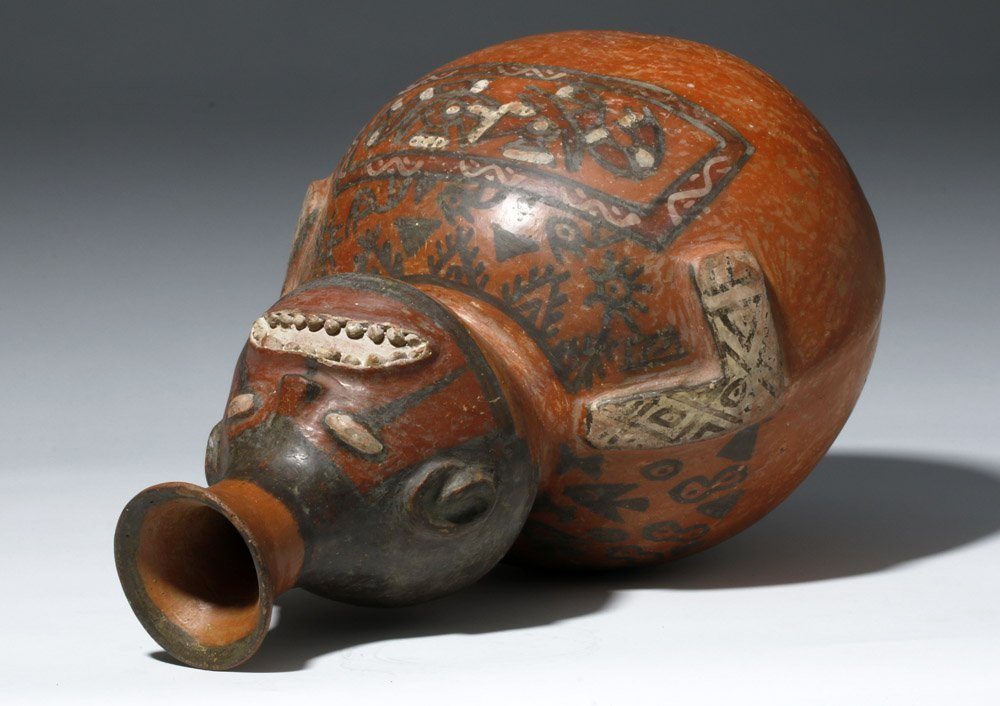 Important Ica / Chancay Polychrome Figural Vessel - 6