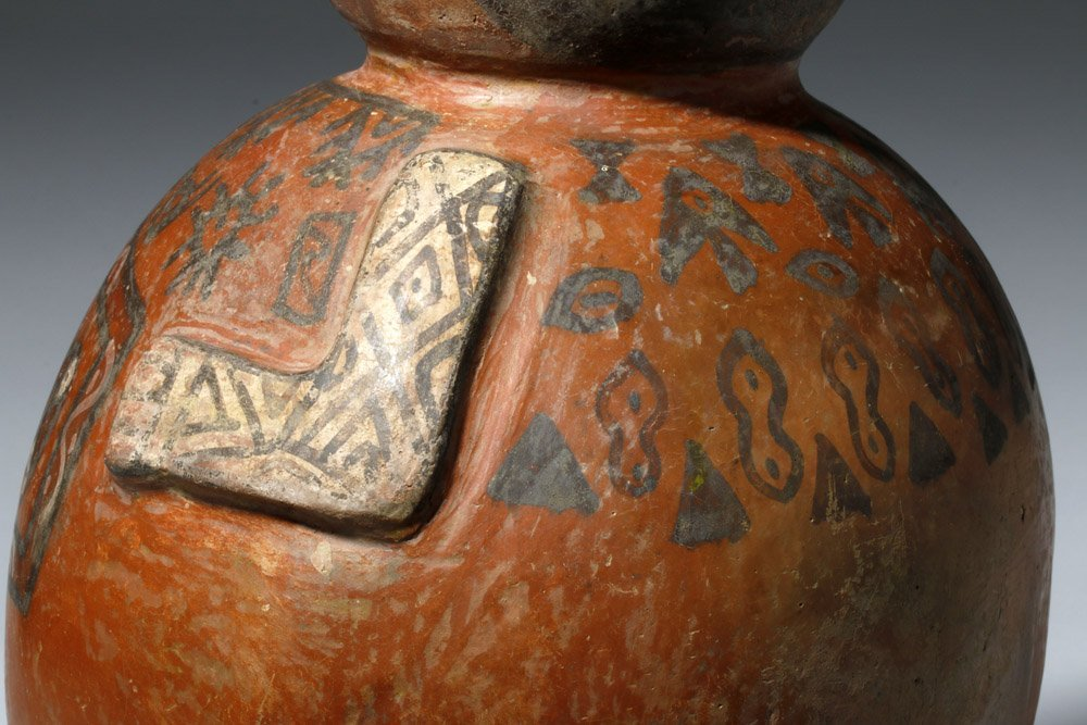 Important Ica / Chancay Polychrome Figural Vessel - 7