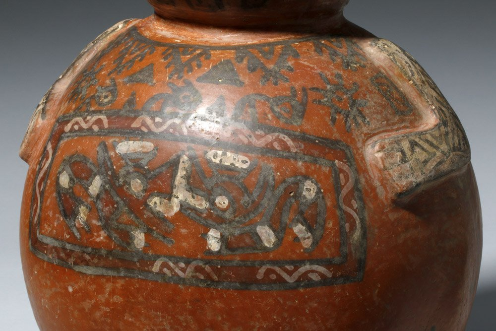 Important Ica / Chancay Polychrome Figural Vessel - 8