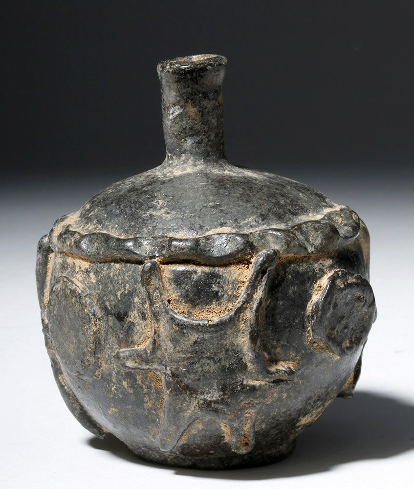 Ancient Sassanian Glass Jar - Added Decorations - 2