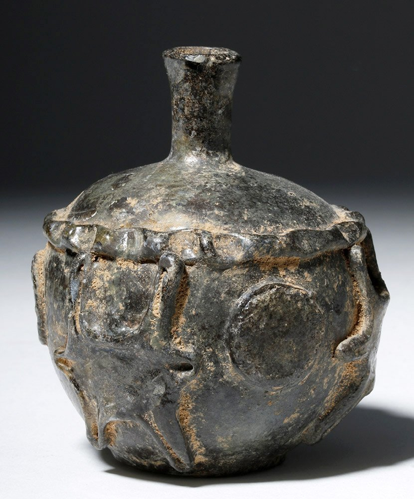 Ancient Sassanian Glass Jar - Added Decorations - 4