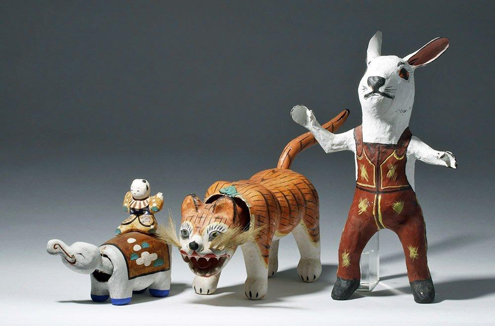 Lot of 3 Japanese Papier-Mache Animals